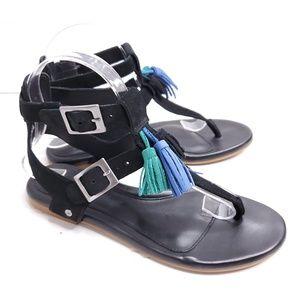 Ugg Fringe Double Buckle T-Strap Sandals